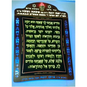 Prayer plaques set on wood